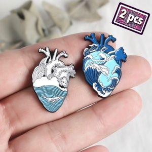 2 Matching Anatomy Heart Scrub Pins Blue Surf Wave